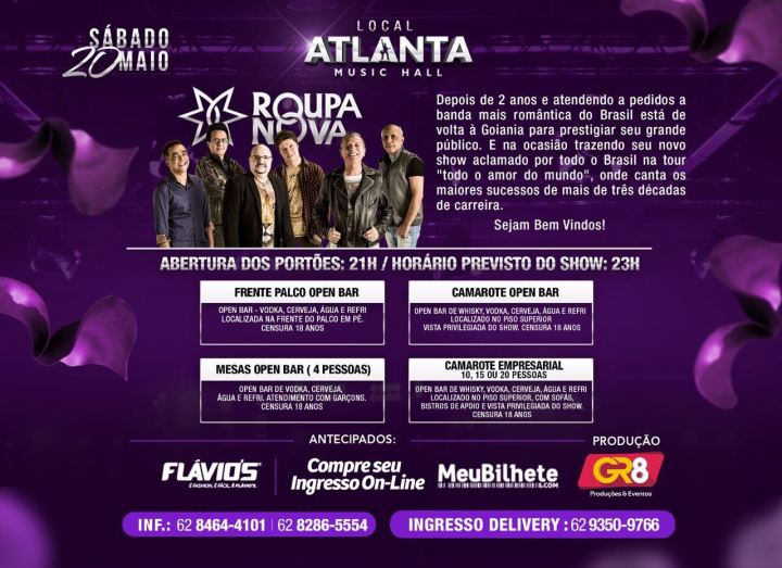 Eflyer 2 - Show Roupa Nova - Dia 20 de Maio - Atlanta Music Hall
